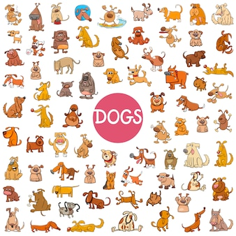 Conjunto de personajes de dibujos animados perro grande