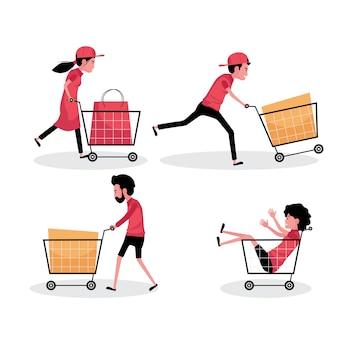 Un conjunto de personajes de dibujos animados de personas con carrito de compras y bolsa.