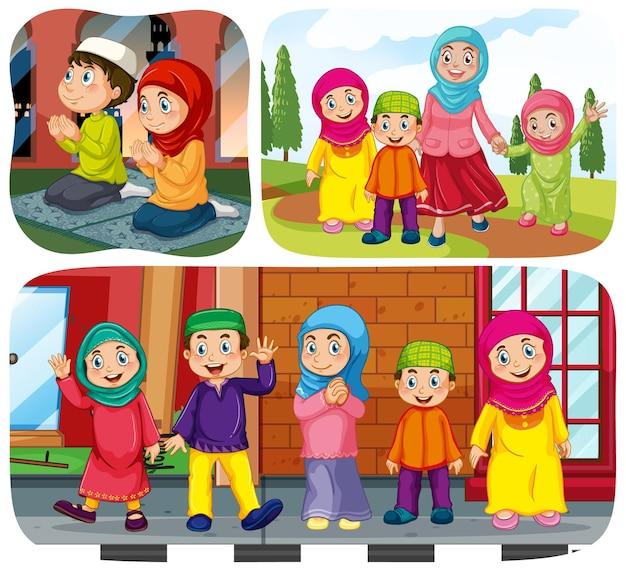 Conjunto de personajes de dibujos animados de personas musulmanas en diferentes escenas