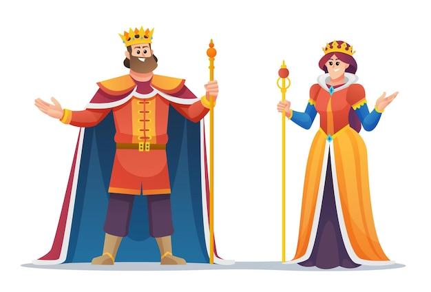 Conjunto de personajes de dibujos animados de rey y reina Vector Premium