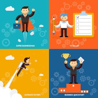 Conjunto de personajes de dibujos animados de vector de empresario que representan a un súper empresario. lista de tareas pendientes, victoria final propulsada por chorro y un logro de inicio rápido o premio