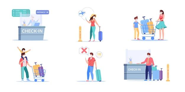 Conjunto de personajes de dibujos animados de viajero de aeropuerto plano