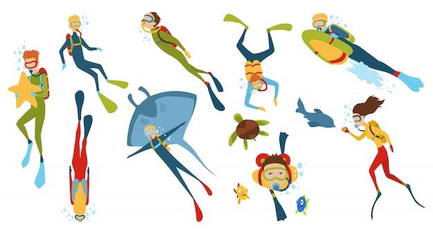 Conjunto de personajes de dibujos animados