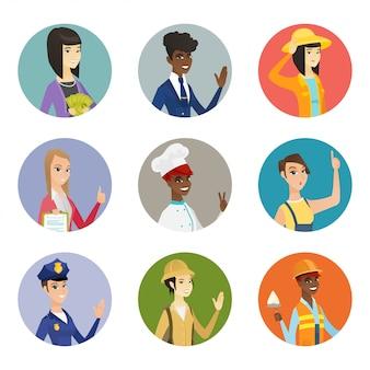 Conjunto de personajes de diferentes profesiones.