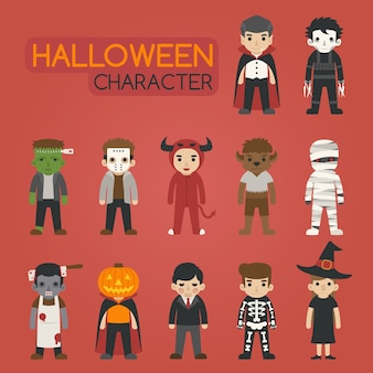 Conjunto de personajes de disfraces de halloween, truco o trato