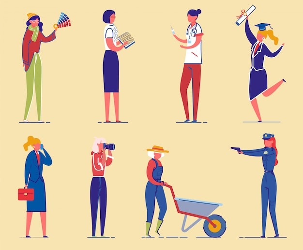 Conjunto de personajes diversos estudiantes y mujeres trabajadoras.