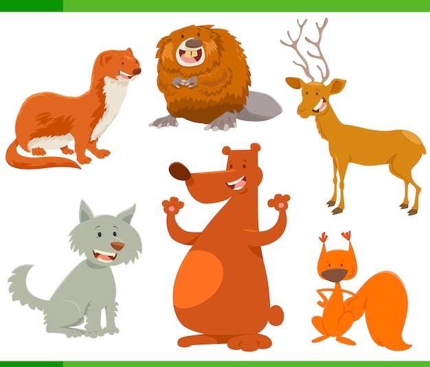Conjunto de personajes divertidos de animales salvajes