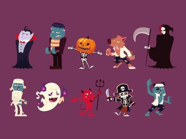Conjunto de personajes divertidos para hallowwen.