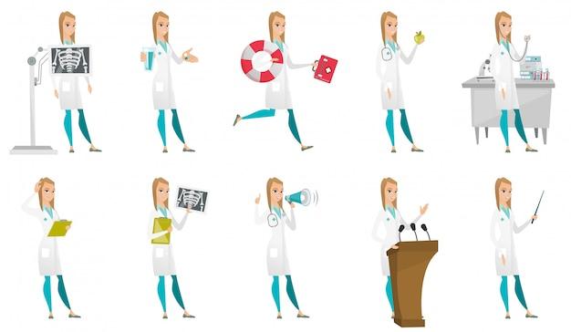 Conjunto de personajes de doctor.