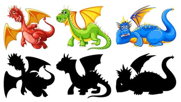 Conjunto de personajes de dragón.