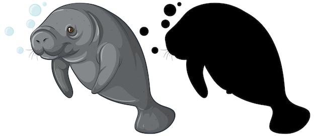 Conjunto de personajes de dugong y su silueta en blanco
