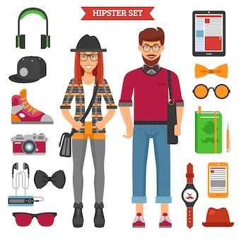 Conjunto de personajes y elementos de pareja de hipster
