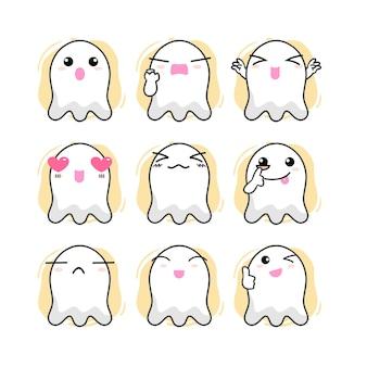 Conjunto de personajes de emoticonos de fantasmas lindos