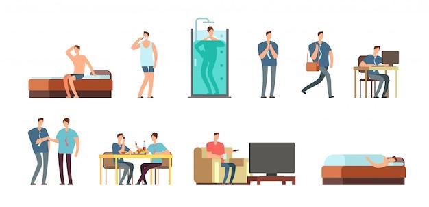 Conjunto de personajes de empresario de dibujos animados vector de rutina diaria