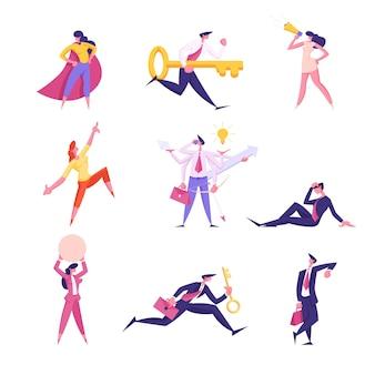 Conjunto de personajes de empresarios posando en capa de superhéroe