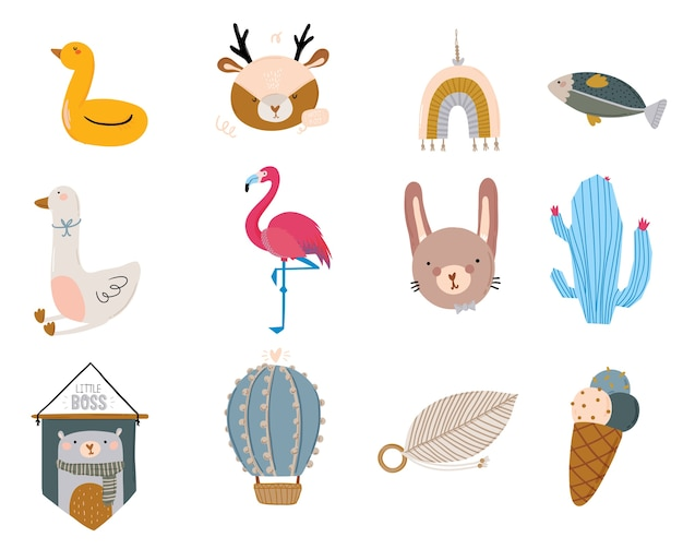 Conjunto de personajes escandinavos para niños lindos que incluyen citas de moda y animales geniales