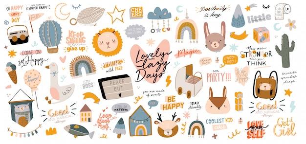 Conjunto de personajes escandinavos para niños lindos que incluyen citas de moda y elementos decorativos dibujados a mano de animales.