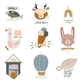 Conjunto de personajes escandinavos para niños lindos que incluyen citas de moda y elementos dibujados a mano decorativos de animales geniales. ilustración de dibujos animados para baby shower, decoración de la habitación de los niños, diseño de niños.