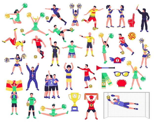 Conjunto de personajes de fanático del fútbol