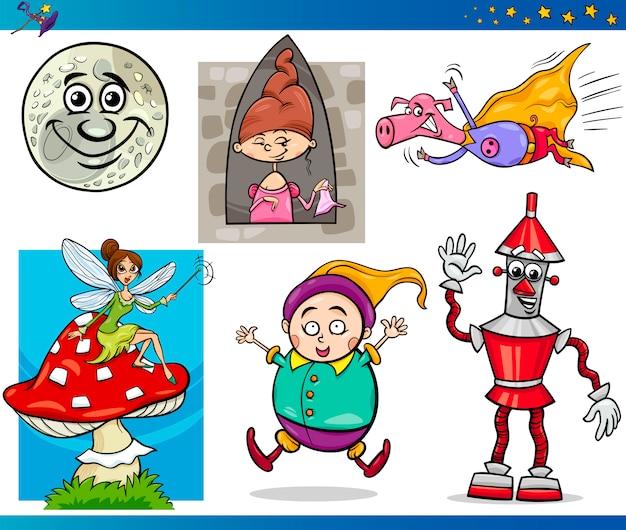 Conjunto de personajes de fantasía de dibujos animados