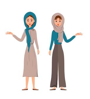 Conjunto de personajes femeninos. las chicas señalan la mano derecha hacia un lado.