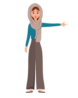 Conjunto de personajes femeninos. la niña señala la mano derecha hacia un lado. ilustración.
