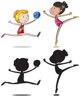 Conjunto de personajes de gimnasia deportista.