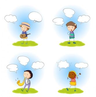 Conjunto de personajes con globo de diálogo.