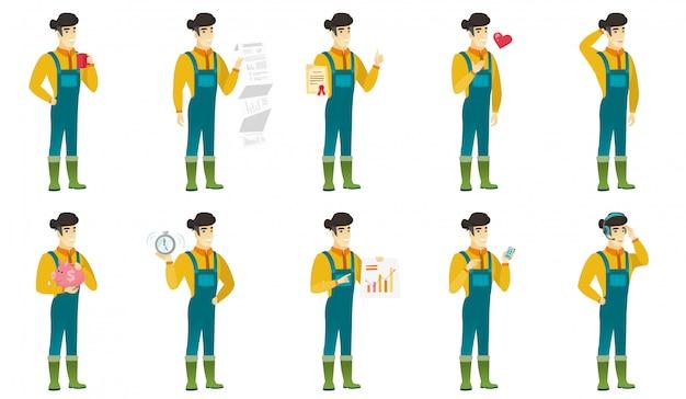 Conjunto de personajes granjeros
