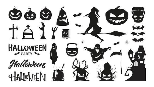 Conjunto de personajes de halloween. colección de silueta. premium.