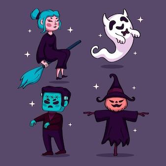 Conjunto de personajes de halloween dibujados a mano