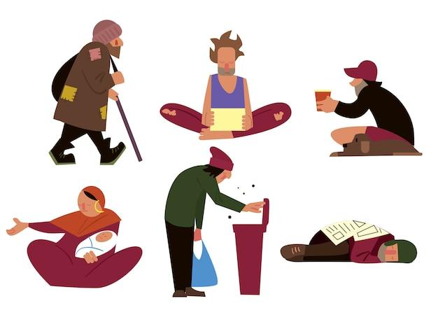 Conjunto de personajes sin hogar