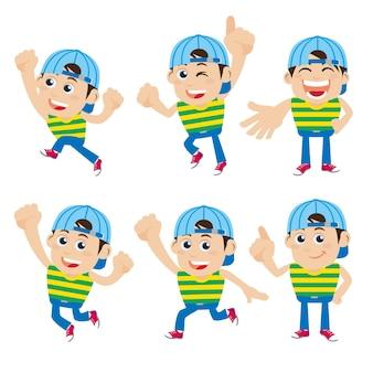 Conjunto de personajes de hombre joven en diferentes poses.