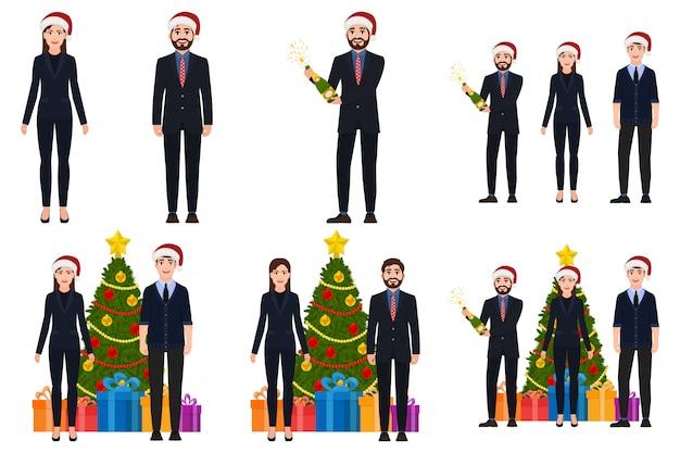 Conjunto de personajes de hombre y mujer en navidad