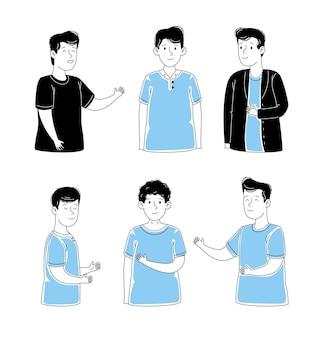 Conjunto de personajes de hombres jóvenes