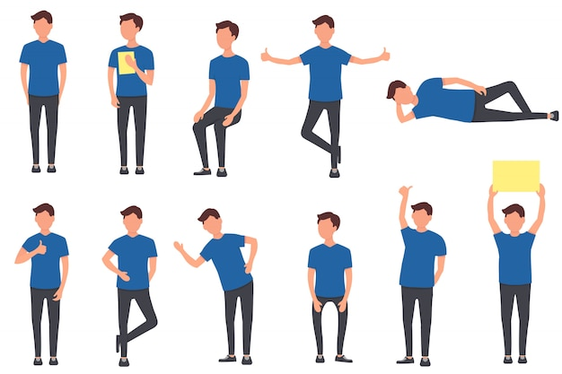 Conjunto de personajes de los hombres. moviendo y saltando personajes chicos con ropa azul. las personas llevan un estilo de vida saludable. ilustración en diseño plano. .