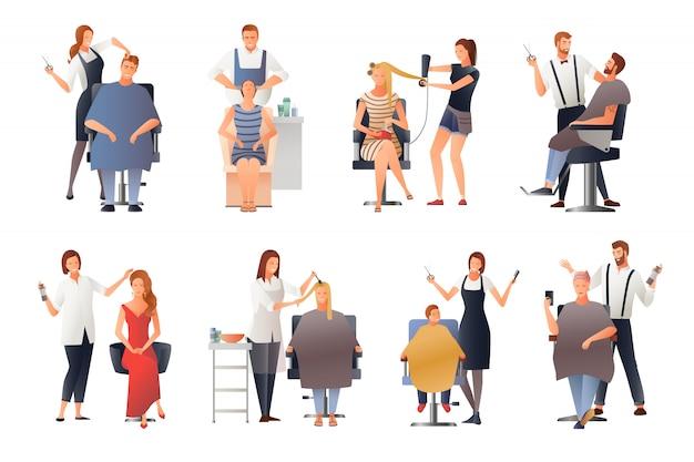 Conjunto de personajes humanos de peluquería