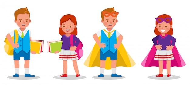 Conjunto de personajes infantiles, estudiante y superhéroe.
