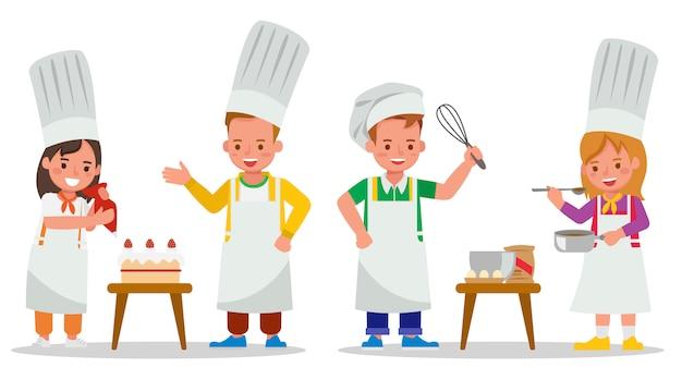 Conjunto de personajes infantiles. kid chef está preparando la comida.