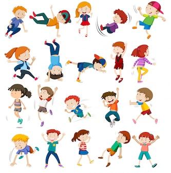 Conjunto de personajes infantiles urbanos.