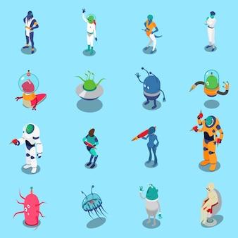 Conjunto de personajes isométricos de extraterrestres