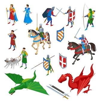 Conjunto de personajes isométricos medievales de espadas aisladas, armas antiguas y personajes humanos de guerreros con dragones