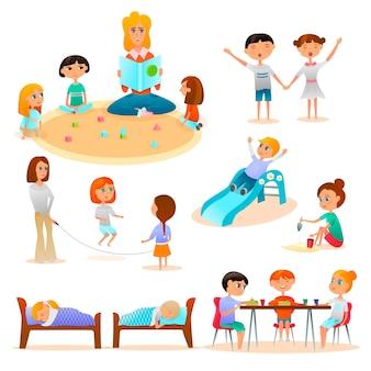 Conjunto de personajes de jardín de infantes