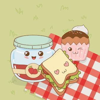 Conjunto de personajes de kawaii de comida de camping.