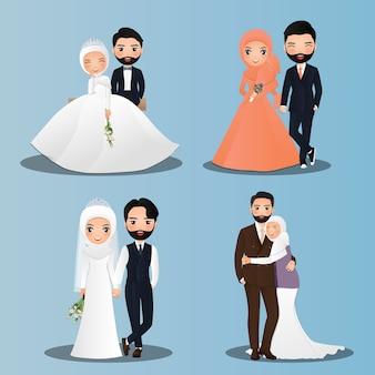 Conjunto de personajes lindos novios musulmanes. tarjeta de invitaciones de boda. en dibujos animados de pareja enamorada