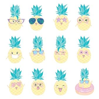 Conjunto de personajes lindos de piña