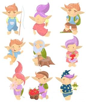 Conjunto de personajes lindos troll, criaturas divertidas con cabello coloreado en diferentes situaciones ilustración de dibujos animados