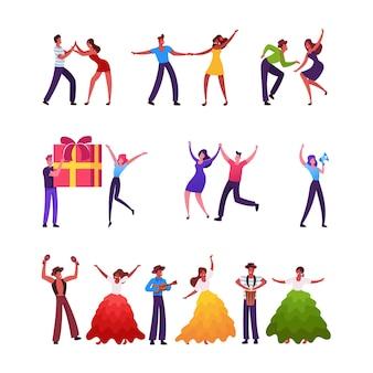 Conjunto de personajes masculinos y femeninos en bailes internacionales.
