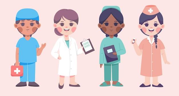 Conjunto de personajes masculinos y femeninos del equipo médico.