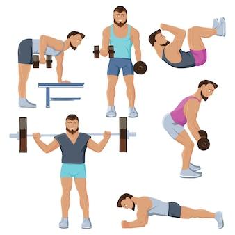Conjunto de personajes masculinos de fitness
